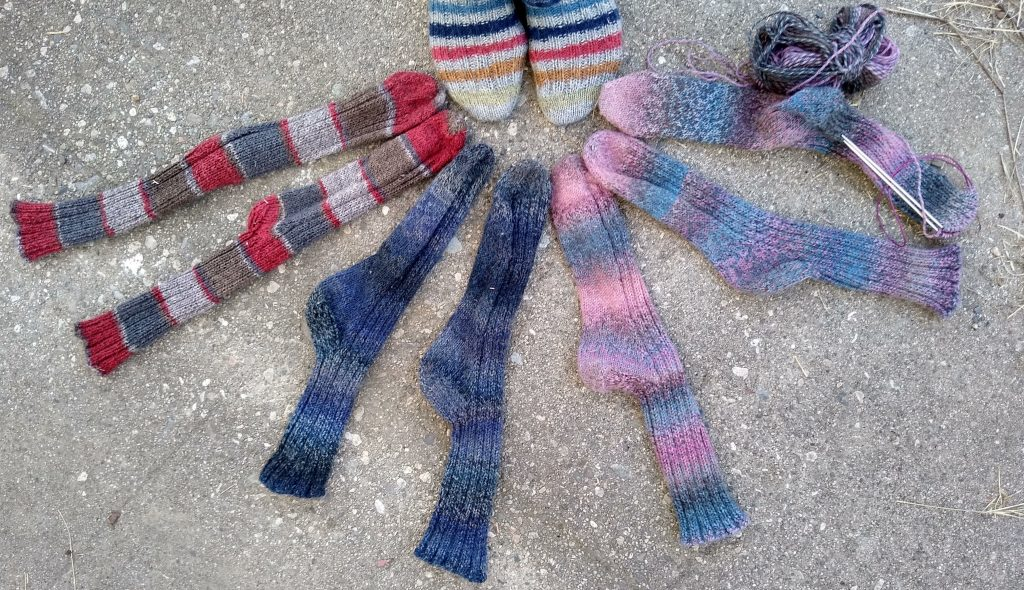 various knitted socks